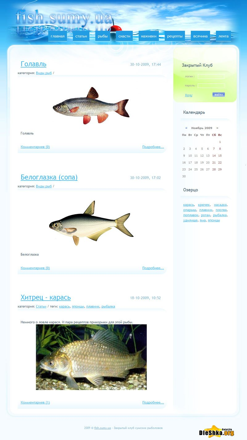 Скачать fishing store opencart template